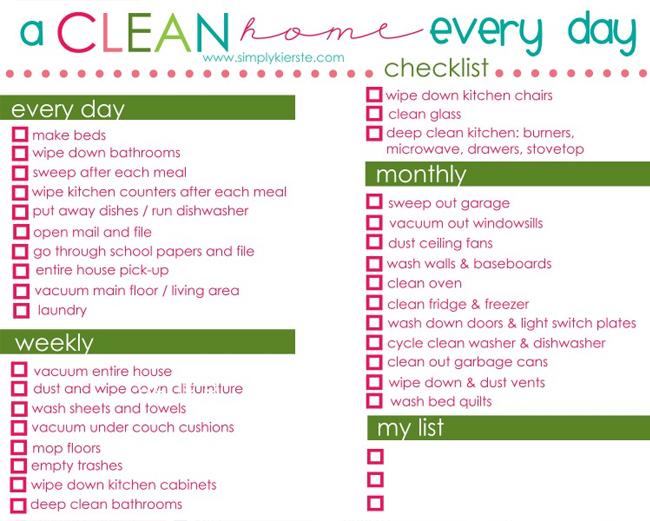 Organize Your Home Checklist Printable