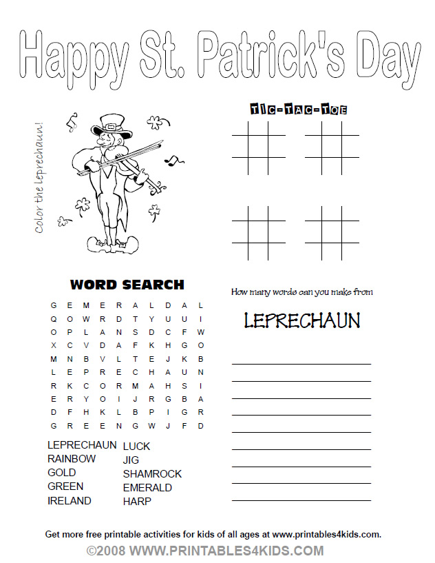 5 Images of Adult St. Patrick's Day Printable Activity