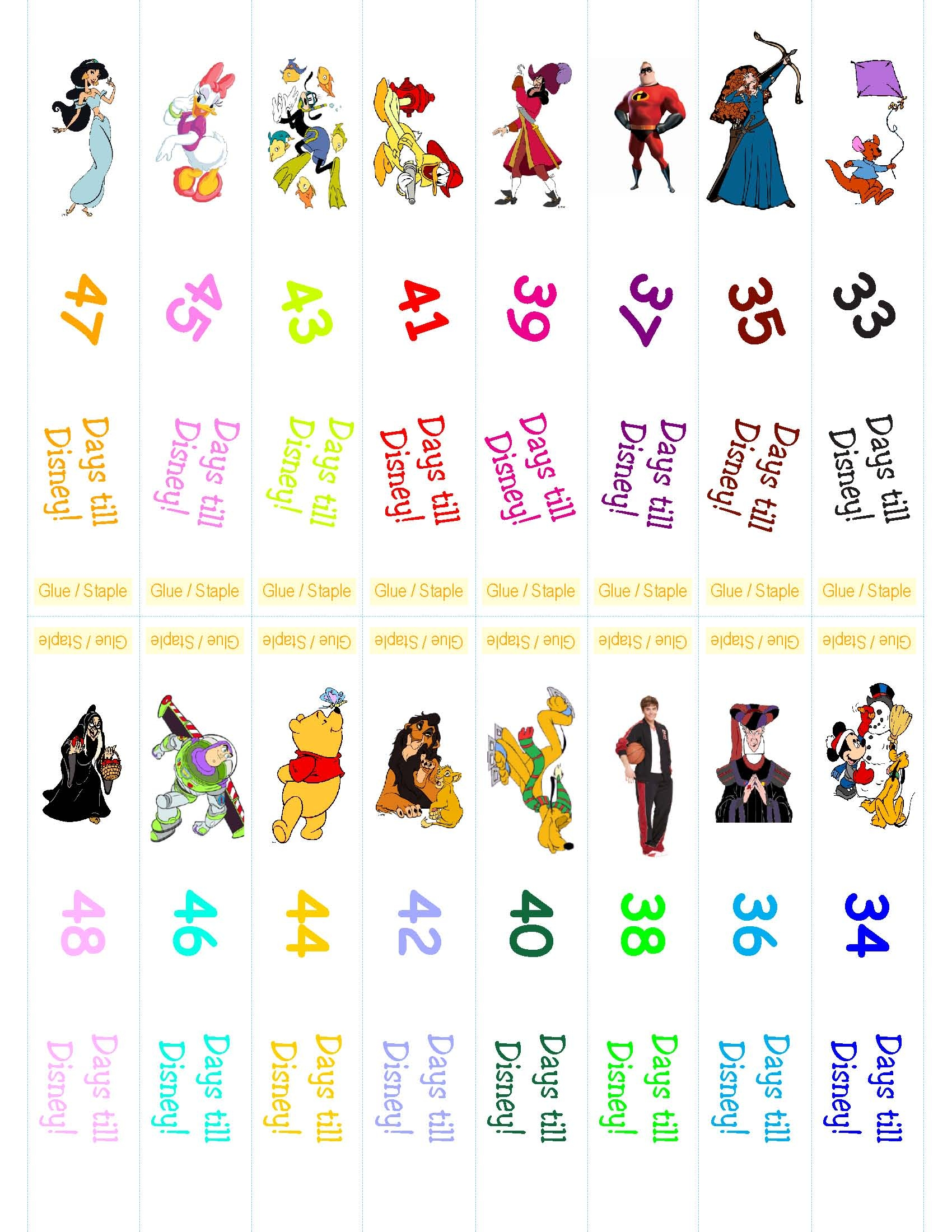 Best Images of Printable Disney Countdown Chain - Disney Countdown ...