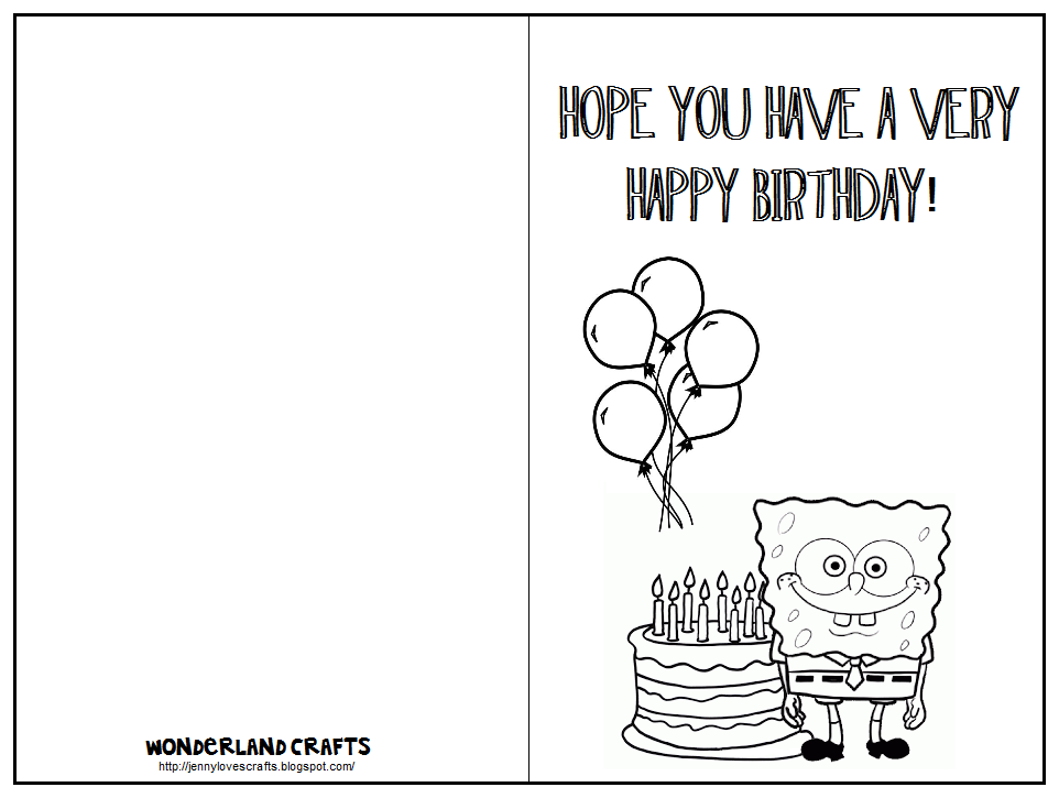 7 best images of printable fold birthday card to color