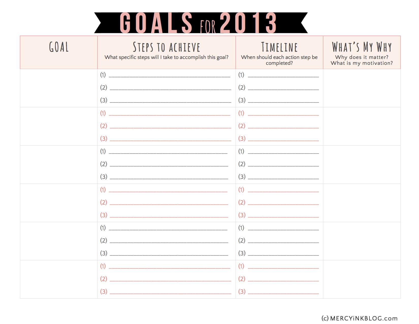 Goal setting worksheets printable