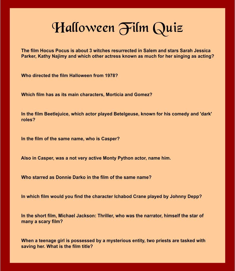 Printable Halloween Trivia Games