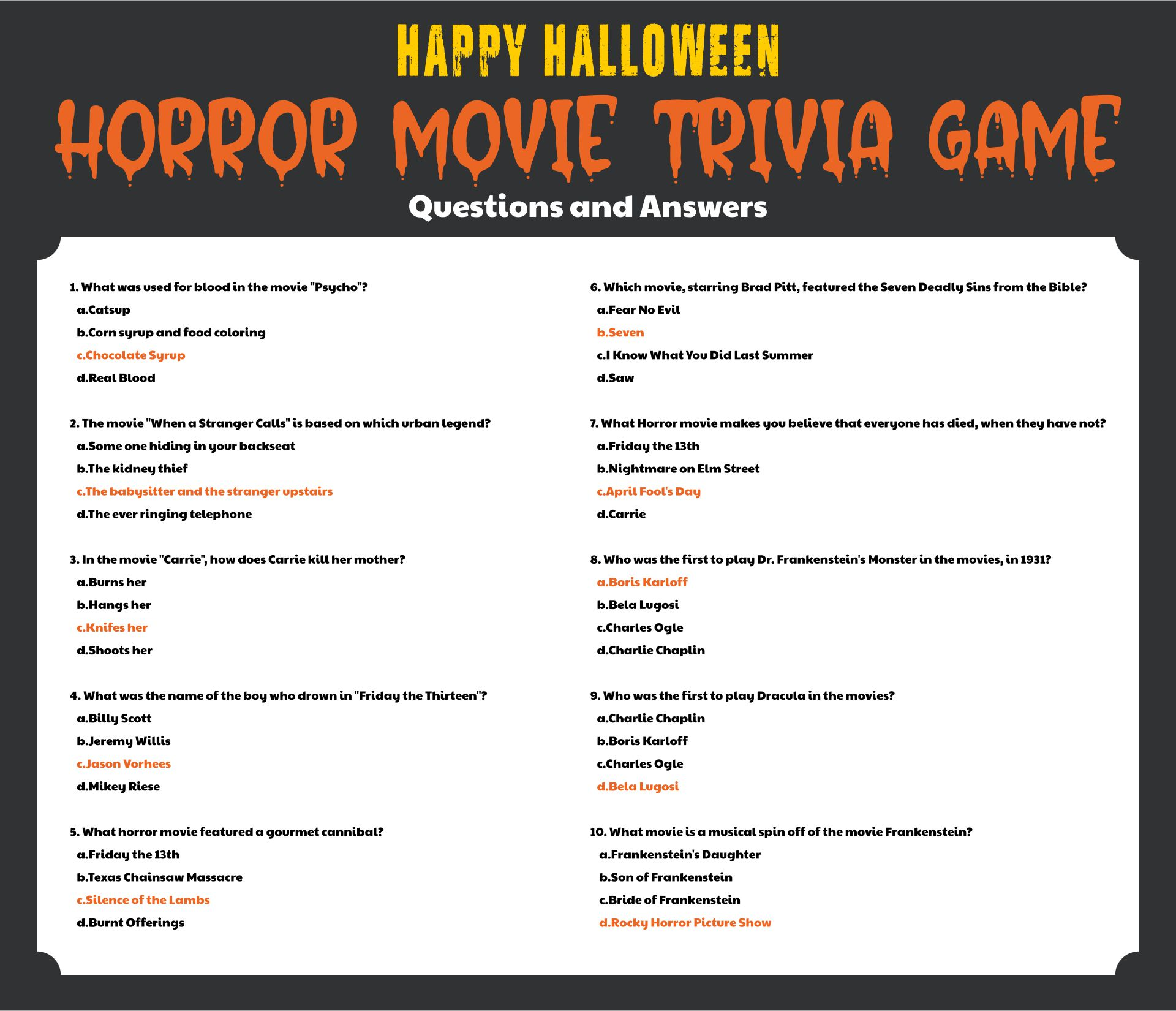 Printable Halloween Trivia Questions and Answers for Adults