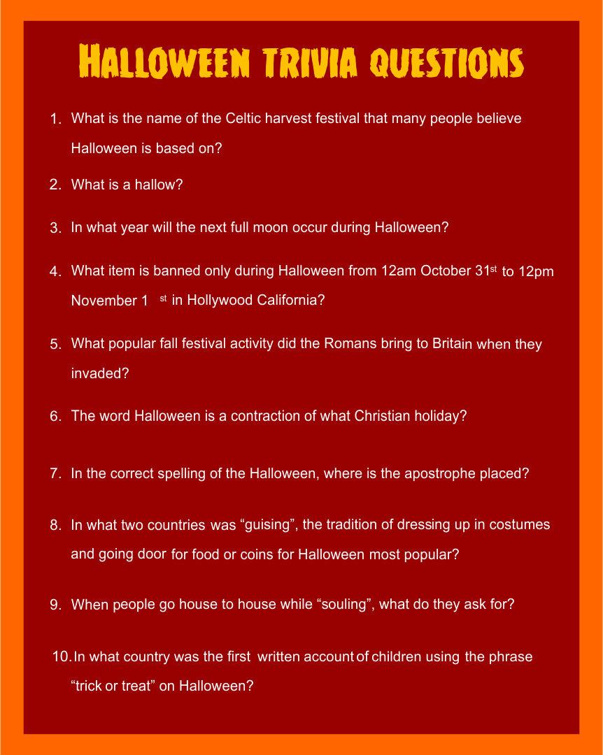 8 Images of Printable Halloween Trivia For Adults