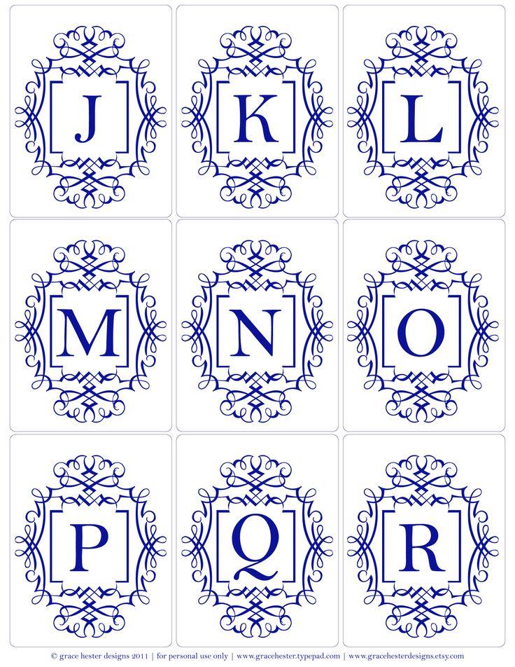 Printable Monogram Letters J