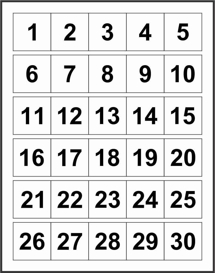 7 Best Images of Printable Number Chart 1 30 - Number ...