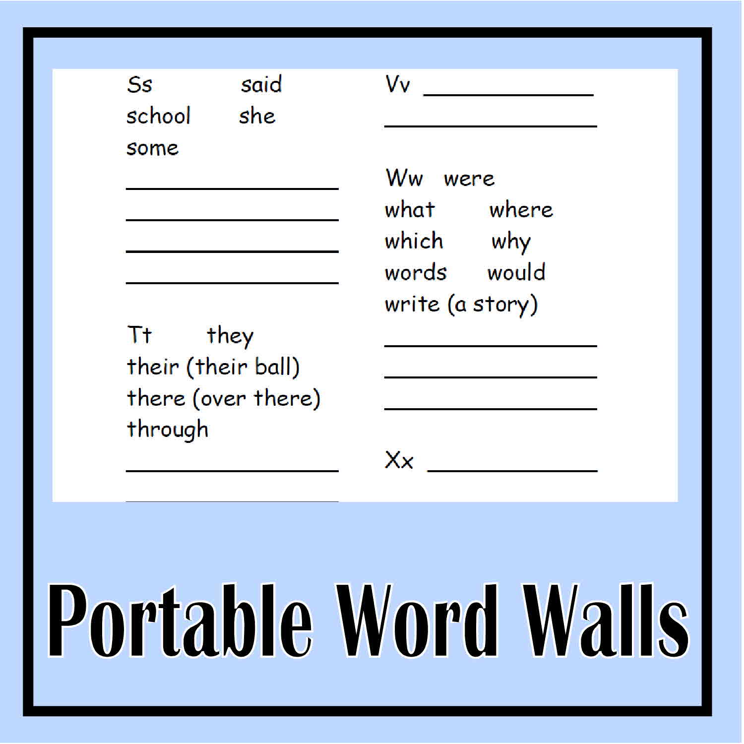 Printable Portable Word Wall