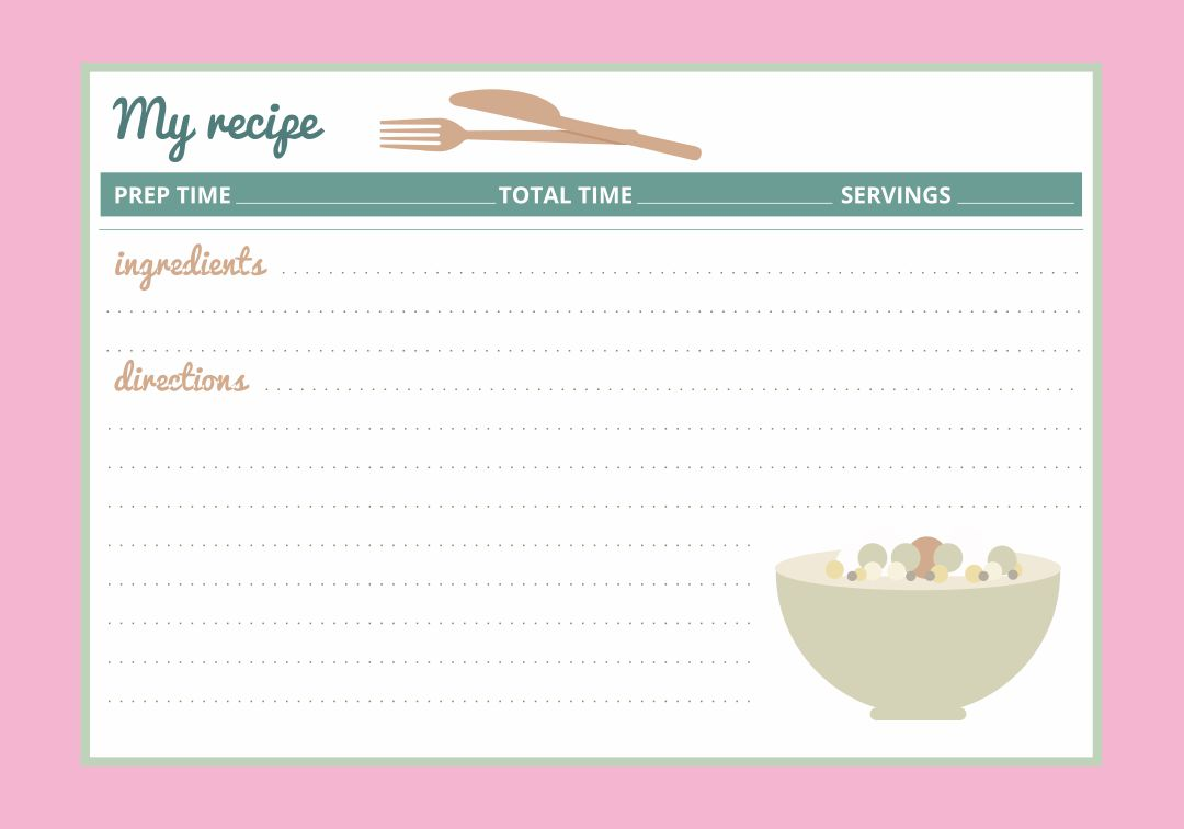 Free Printable Vintage Recipe Cards 4X6