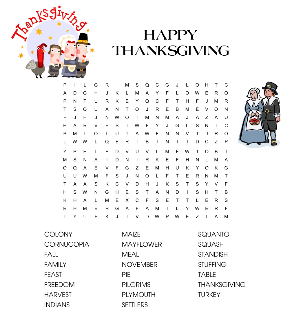 5 Best Images of Thanksgiving Printable Word Games ...