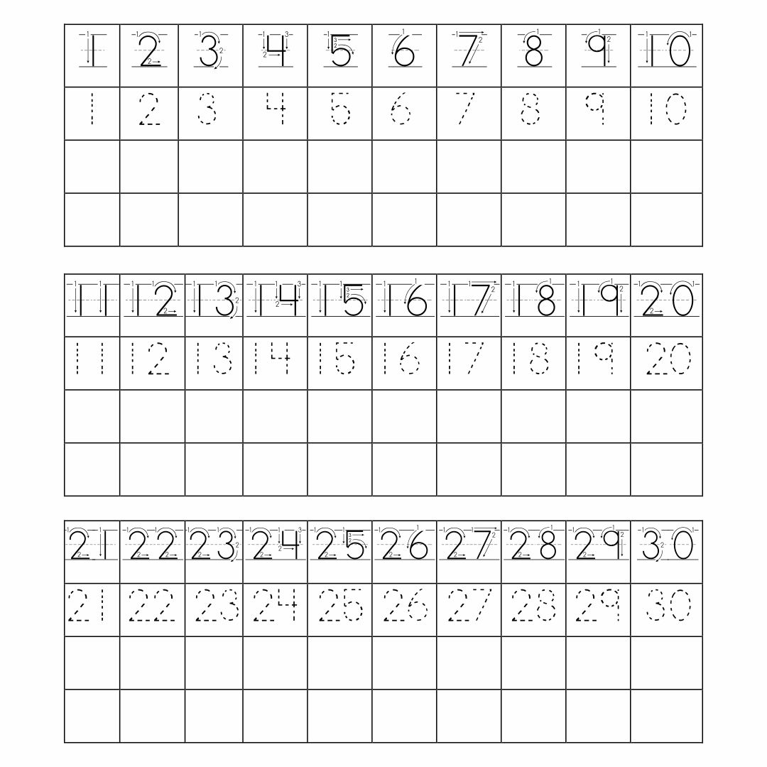 Printable Tracing Numbers 1 20