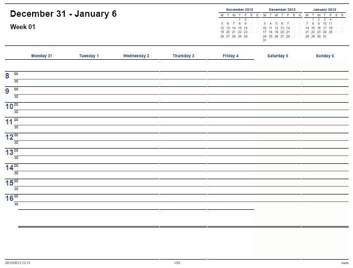 Printable Weekly Calendar 2013