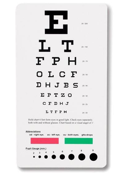 6 Images of Printable Eye Chart Pocket Size