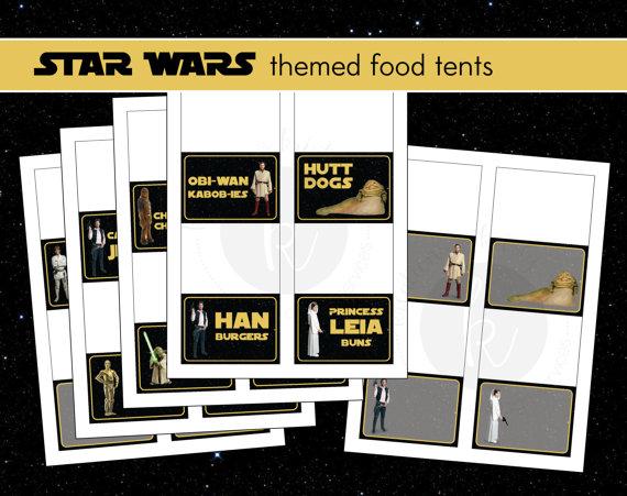 6 Images of Star Wars Printable Food Tents