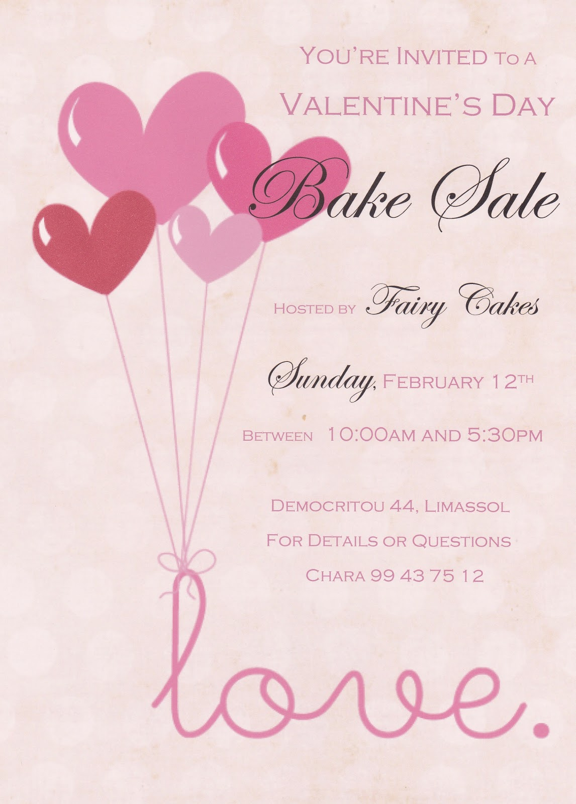 Valentine Bake Sale Flyer