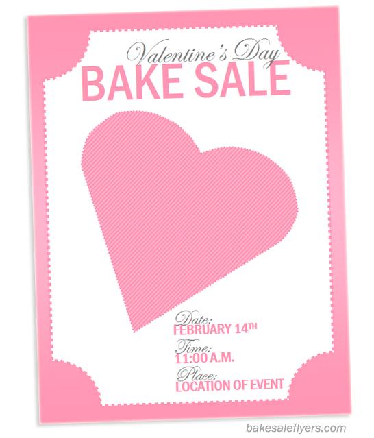 Valentine Printable Bake Sale Flyer Template