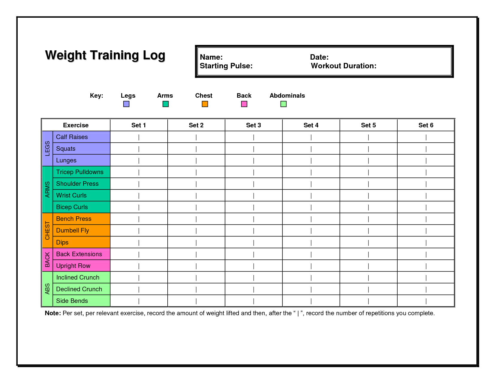 weight training log template 6 best images of free printable weight lifting workout