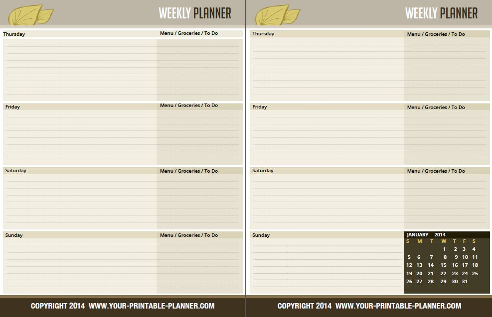 6 Images of Weekly Planner Printable Page 2