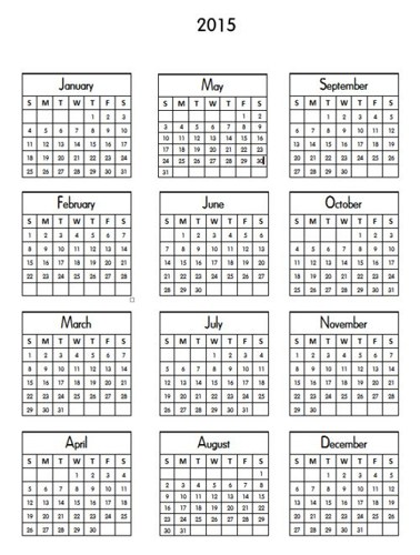 6 Images of Small Printable 2015 Calendar