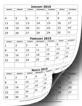 6 Images of 2015 3 Month Calendar Printable
