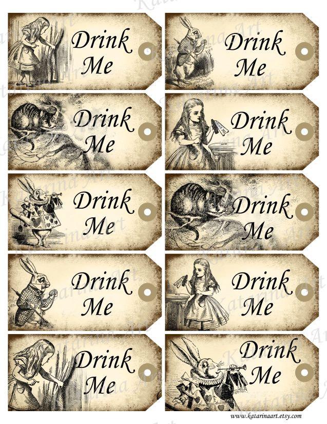 8 Images of Free Printable Alice In Wonderland Drink Me Tag