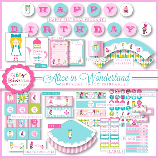 free printables for alice in wonderland party