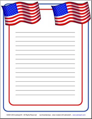 4 Images of American Flag Writing Paper Printable