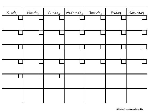 month at a glance blank calendar template - 5 best images of blank month at a glance printable