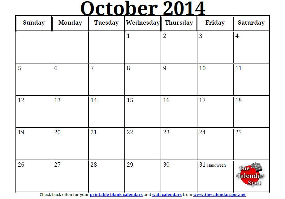 4 Images of Preschool October 2014 Calendar Printable