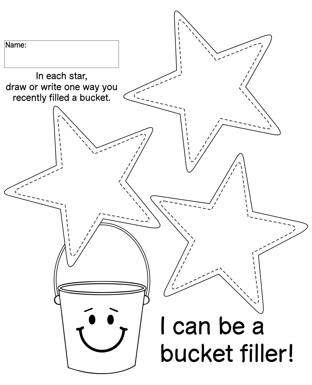 Bucket Filler Printables Coloring Page