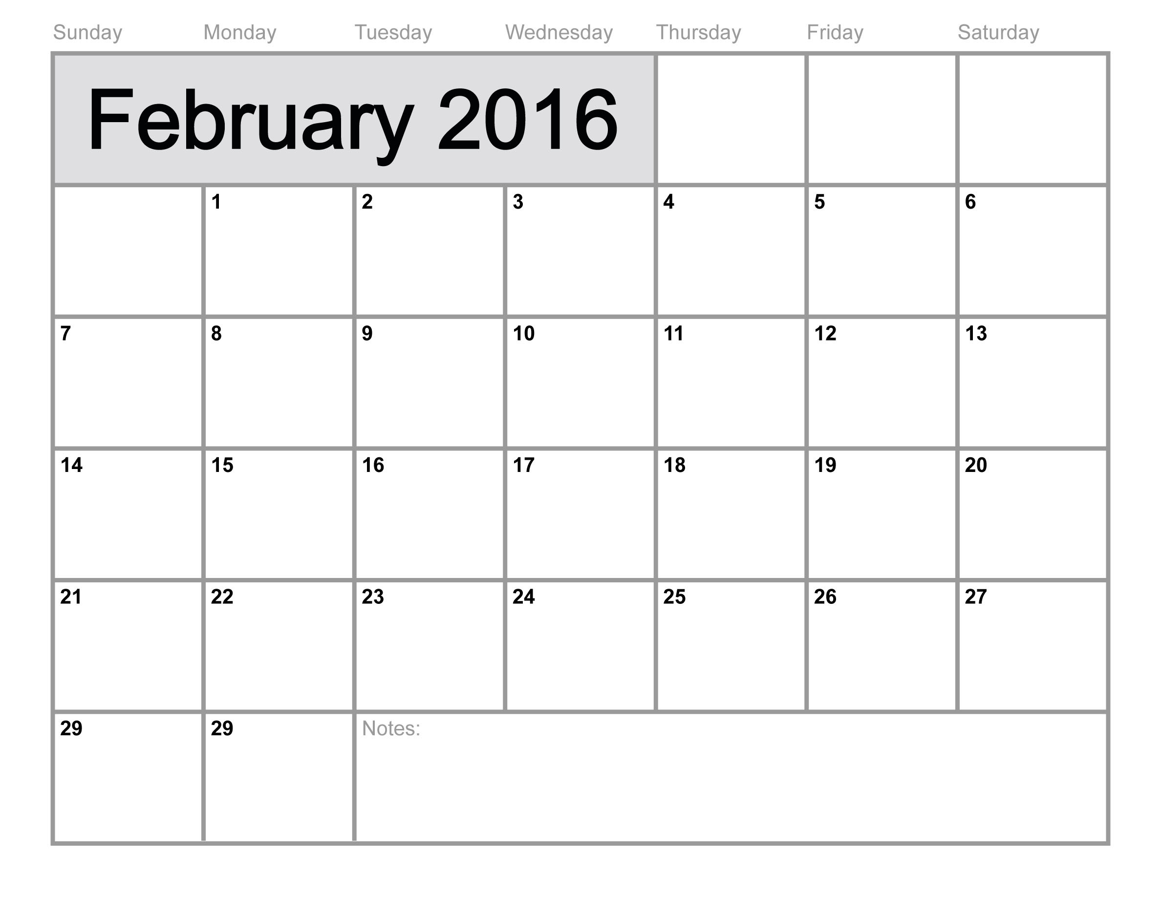7 Images of Blank February Calendar 2016 Printable