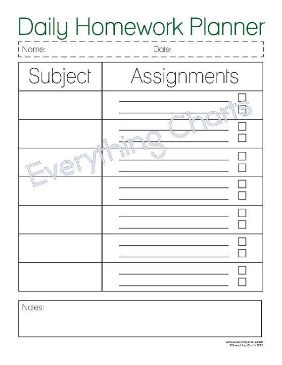 Daily Homework Planner Printable