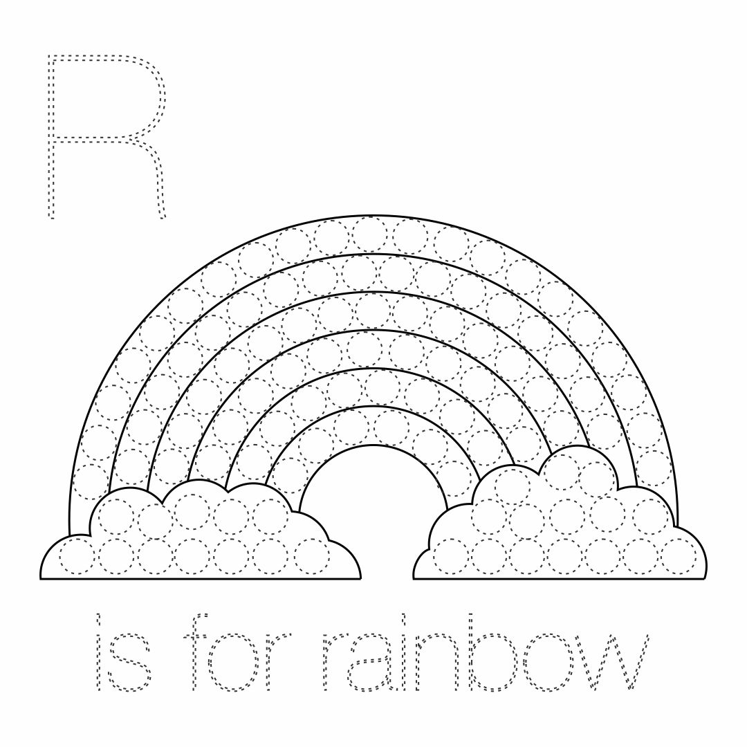 Dot Rainbow Printable Coloring Pages