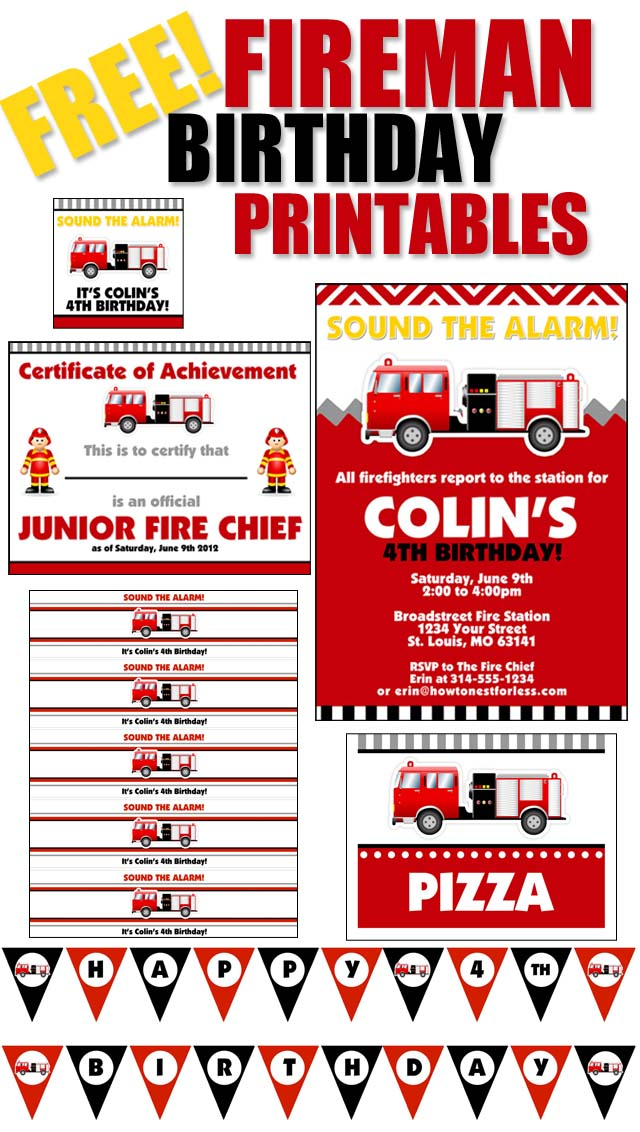 8 Images of Fire Truck Birthday Printables Free