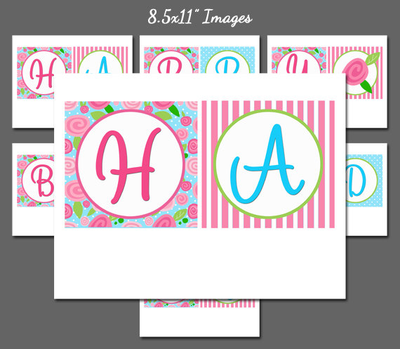 4 Images of Flower Happy Birthday Banner Printable