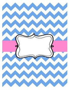 9 Images of Pink And Blue Chevron Binder Cover Printables