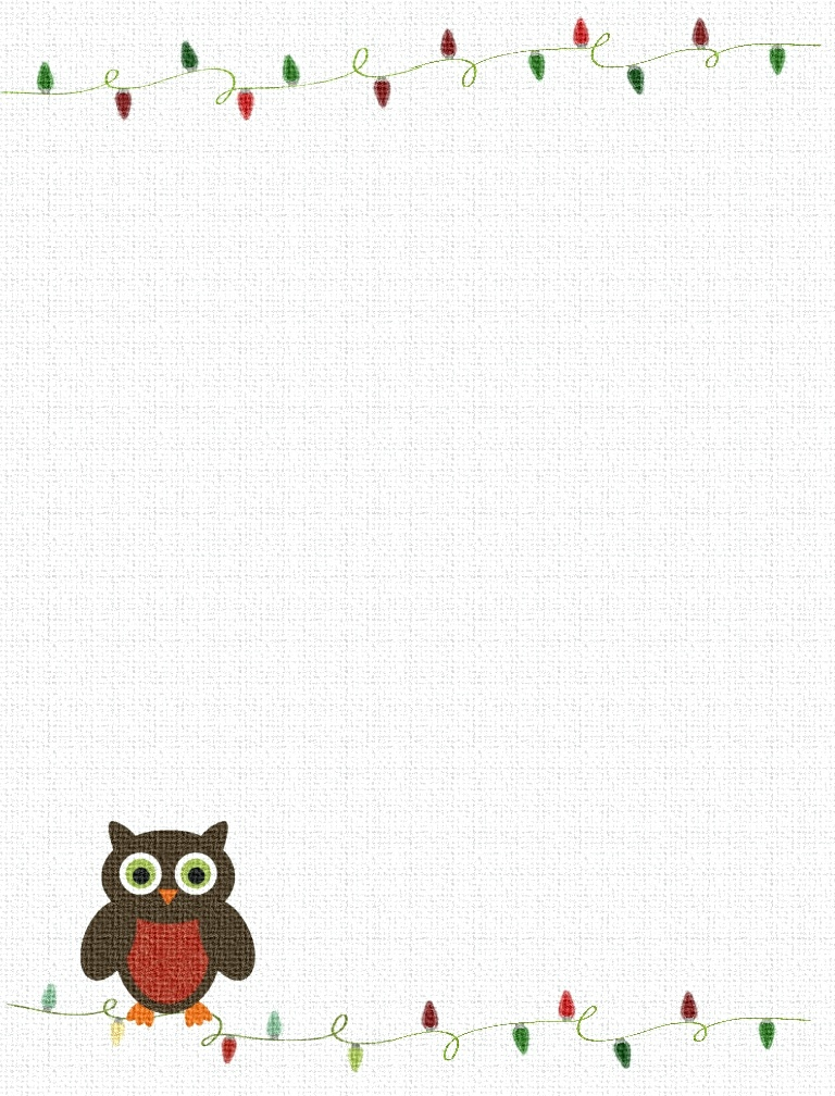 4 Images of Cute Owl Printable Stationary