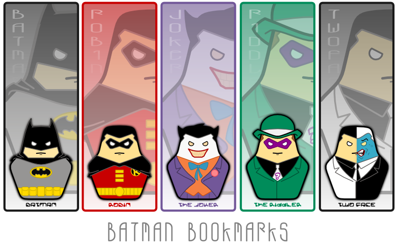 4 Images of Batman Bookmark Printable