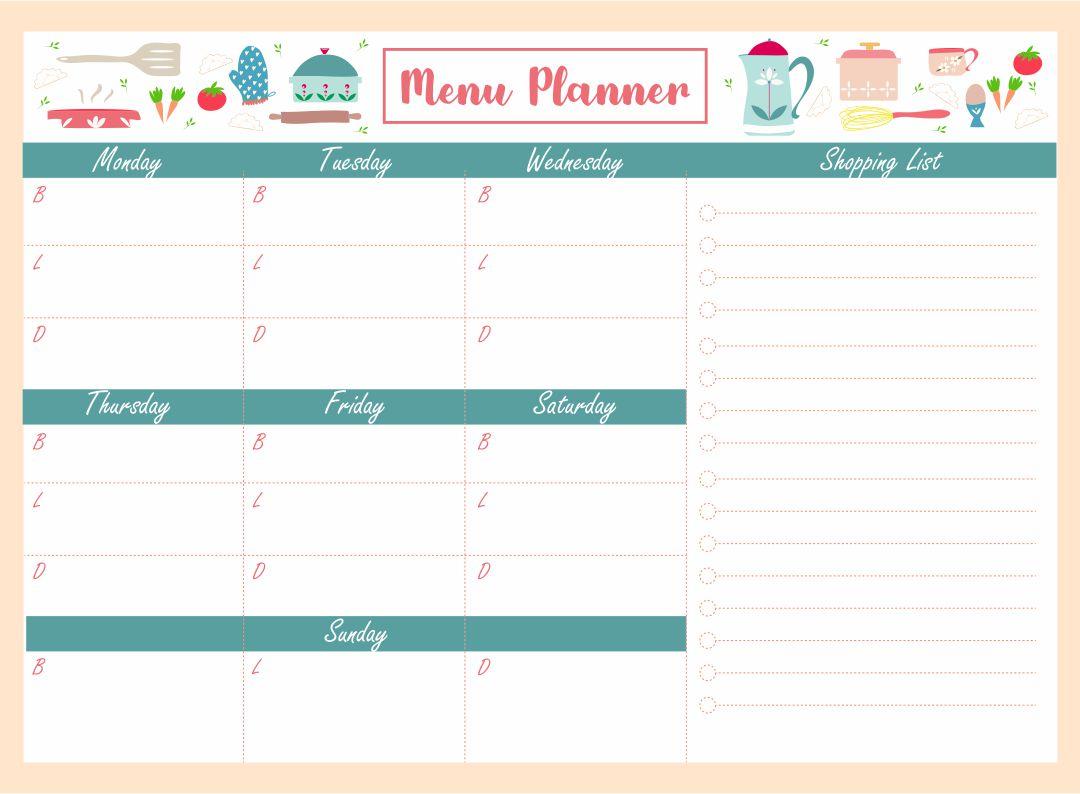 Printable Blank Menu Planner