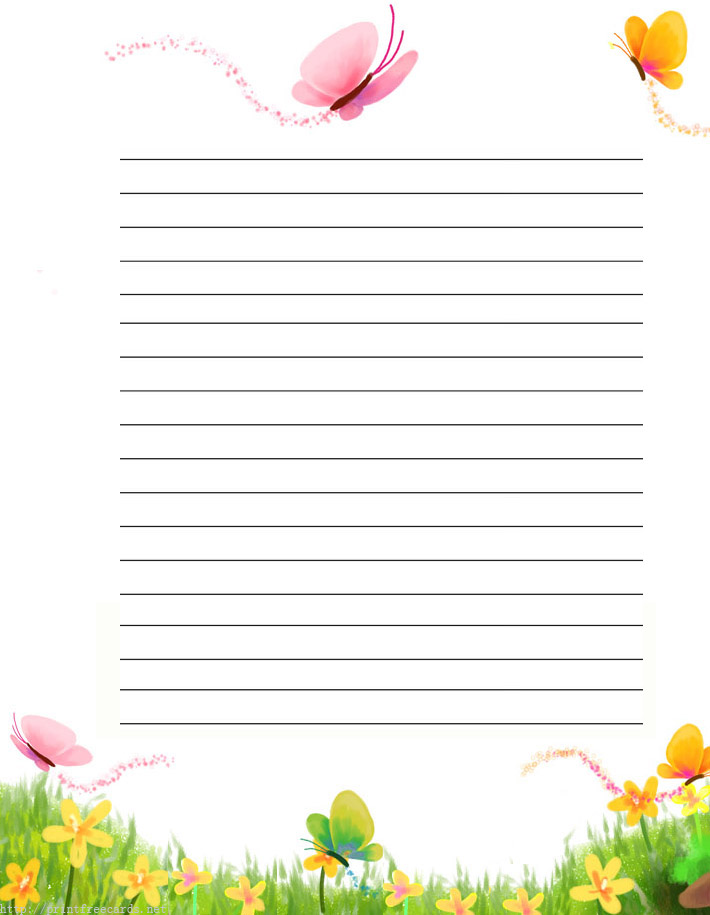 7 Images of Free Printable Lined Writing Paper With Border