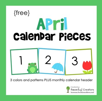 9 Images of Free Printable April Calendar Pieces