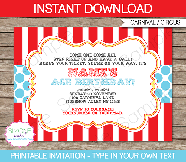 5 Images of Free Printable Carnival Ticket Invitation Templates