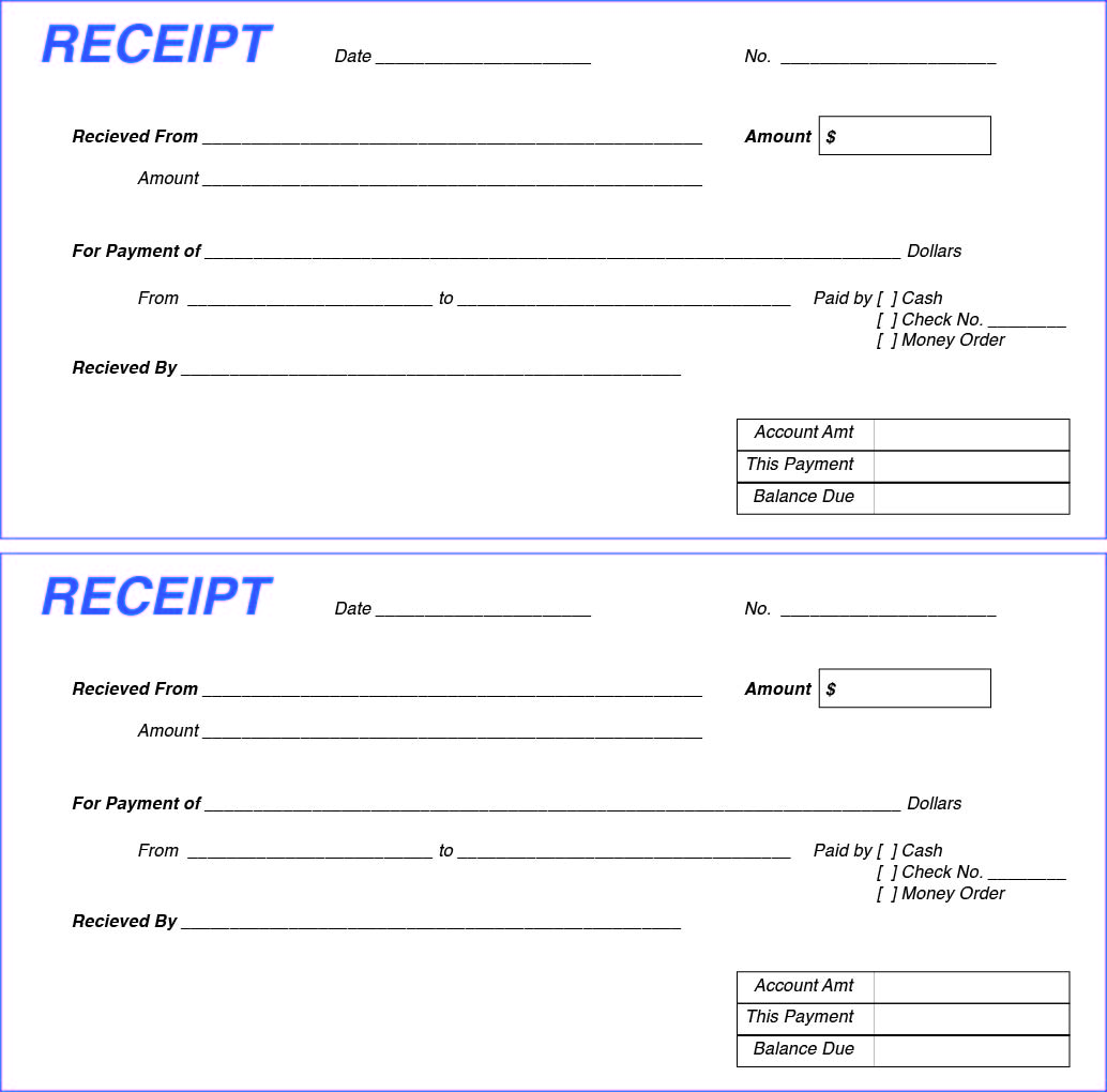 Blank Cash Receipt Forms Printable Pictures to Pin – Printable Sales Receipts