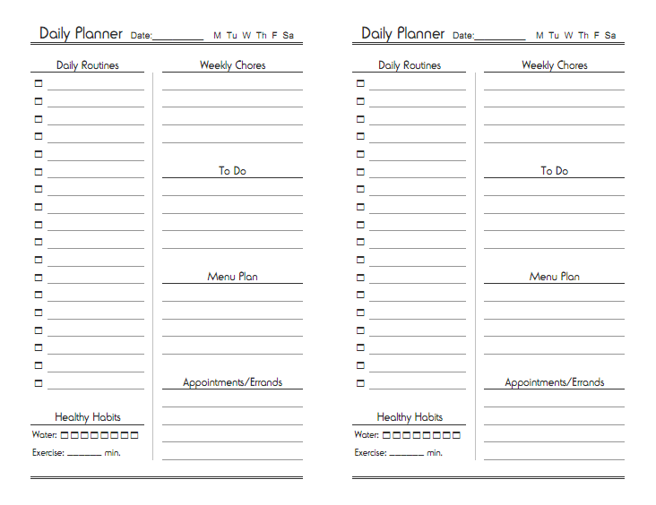 5 Images of Free Printable Daily Planner Sheets