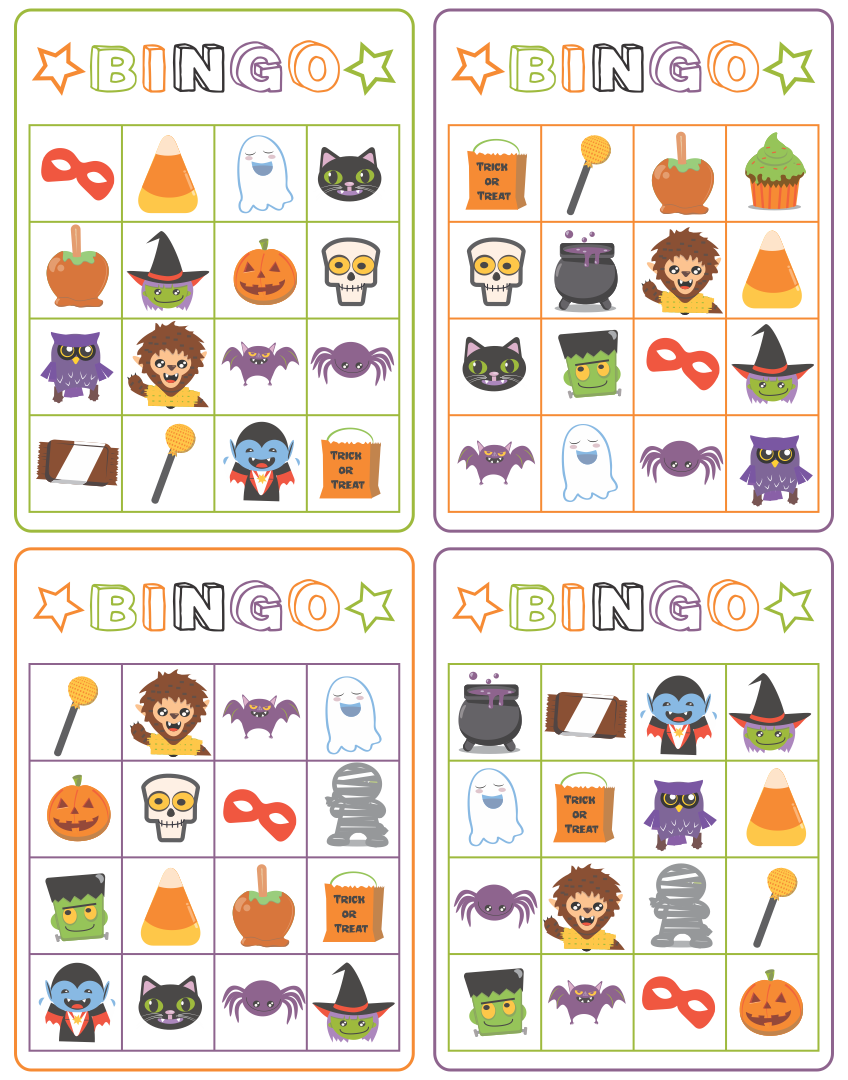 Printable Halloween Bingo Game Cards