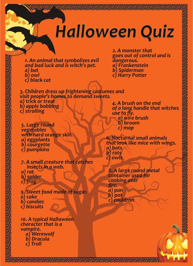 Printable Halloween Trivia Worksheets