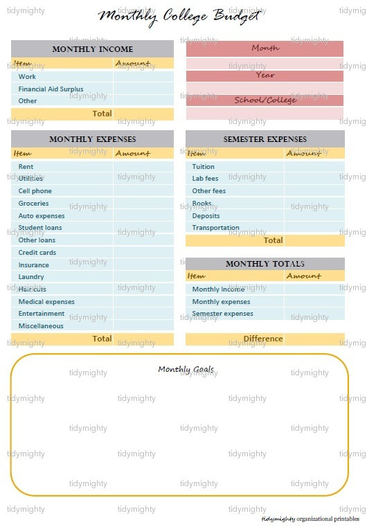 5 Images of Budget Planner Organizer Printable