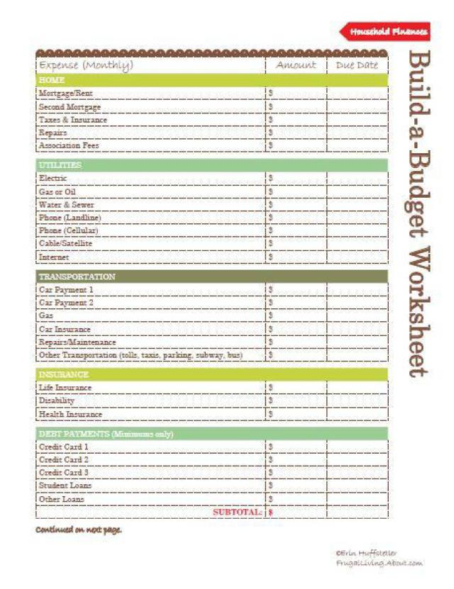4 Images of Home Budget Worksheets Printable