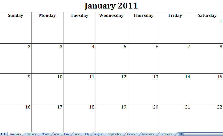 4 Images of Free Printable 2011 Monthly Calendar