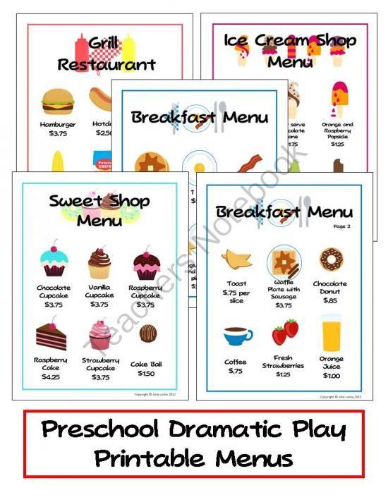 7 Images of Preschool Printable Restaurant Menu