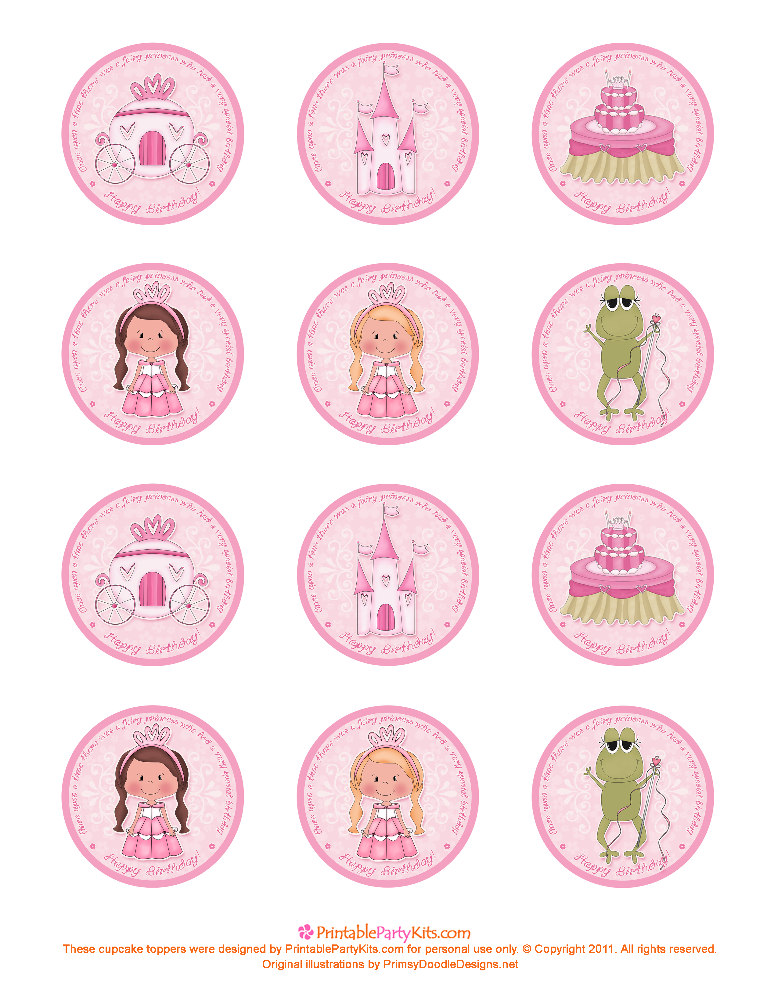 9 Images of Printable Princess Cupcake Toppers